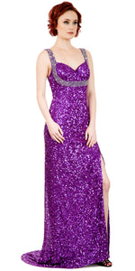 Main image of Broad Straps Front Slit Sequined Long Formal Prom Dress