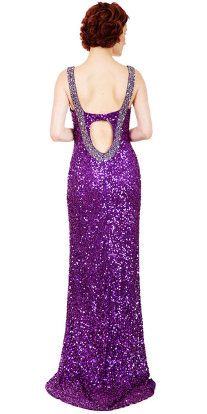 Back image of Broad Straps Front Slit Sequined Long Formal Prom Dress
