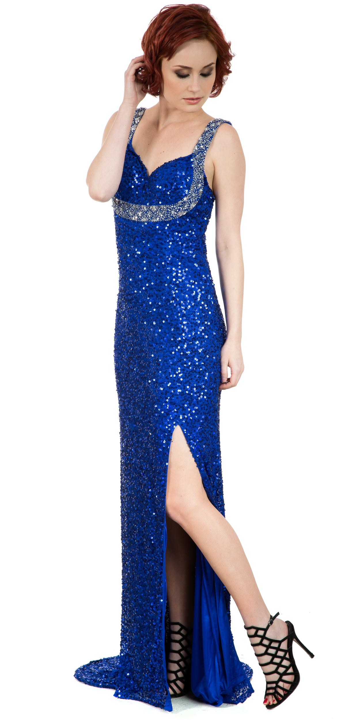 Image of Broad Straps Front Slit Sequined Long Formal Prom Dress in Royal Blue