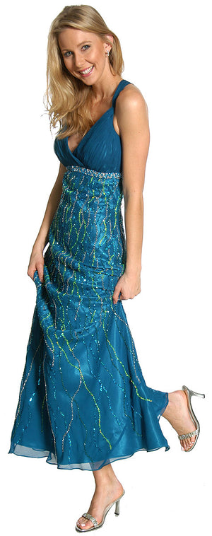 Image of Deep V-neck Crossed Back Sequined Long Formal Prom Dress in alternative view