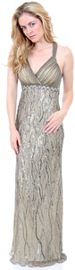 Image of Deep V-neck Crossed Back Sequined Long Formal Prom Dress in Lead