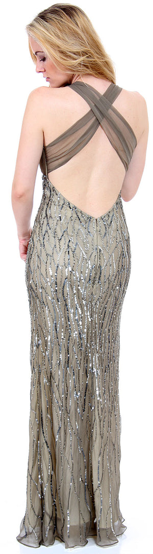 Back image of Deep V-neck Crossed Back Sequined Long Formal Prom Dress