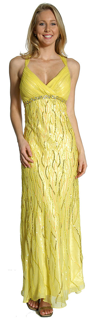 Image of Deep V-neck Crossed Back Sequined Long Formal Prom Dress in Lemon