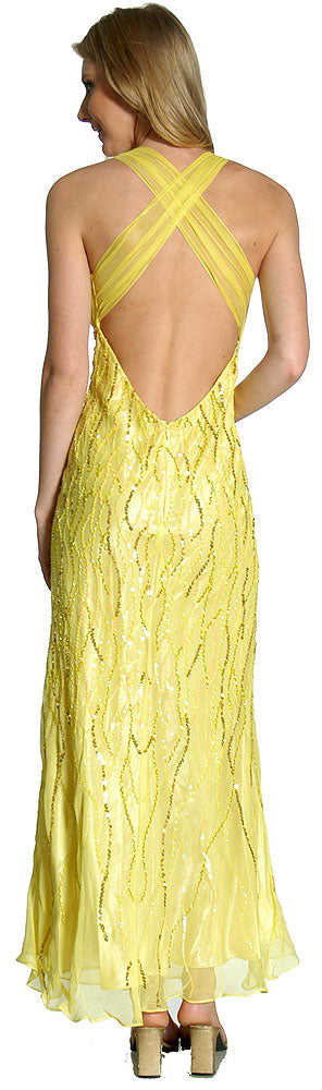 Image of Deep V-neck Crossed Back Sequined Long Formal Prom Dress back in Lemon color