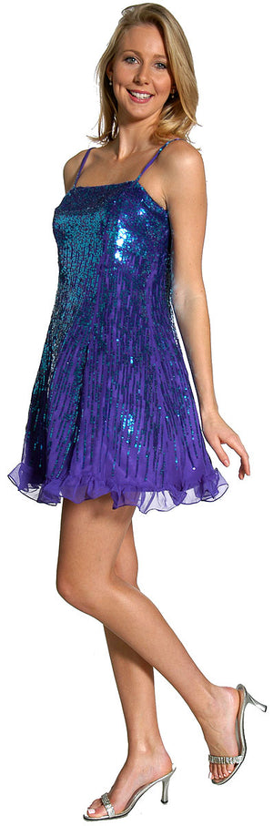 Image of Sequin Glittered Prom Dress in alternative view