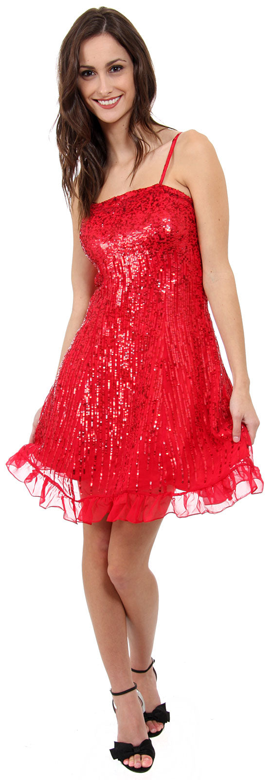 Image of Sequin Glittered Prom Dress in Red