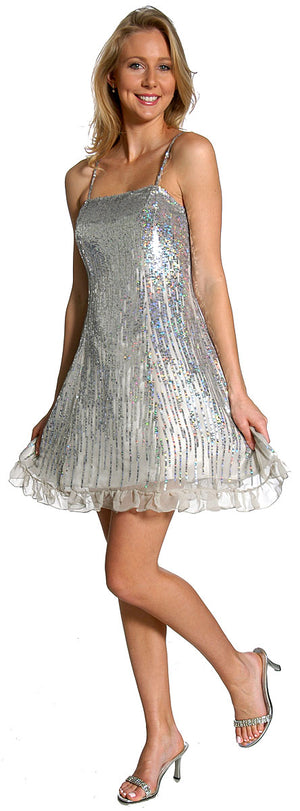 Image of Sequin Glittered Prom Dress in Silver color