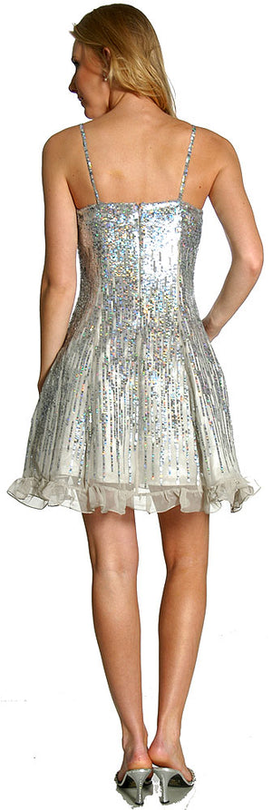 Image of Sequin Glittered Prom Dress back in Silver