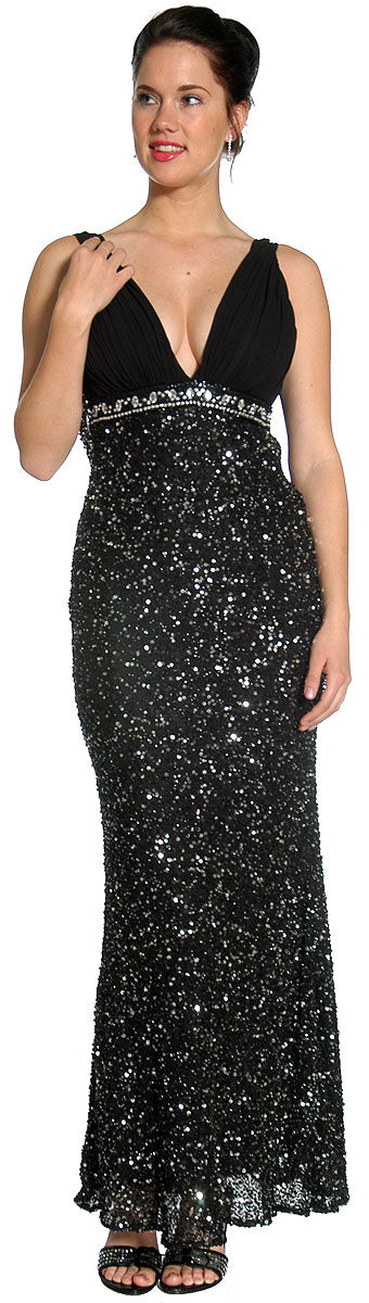 Image of Studded Empress Formal Prom Dress With Shirred Bust in Black/Silver