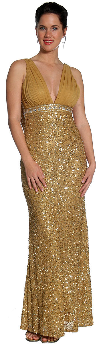 Main image of Studded Empress Formal Prom Dress With Shirred Bust