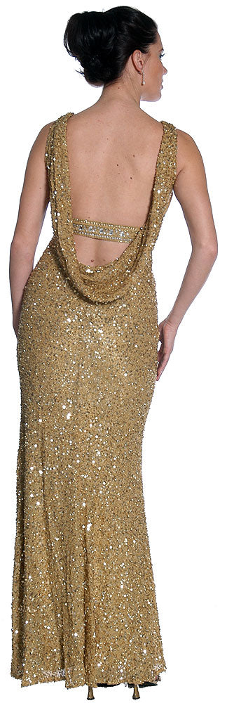Back image of Studded Empress Formal Prom Dress With Shirred Bust