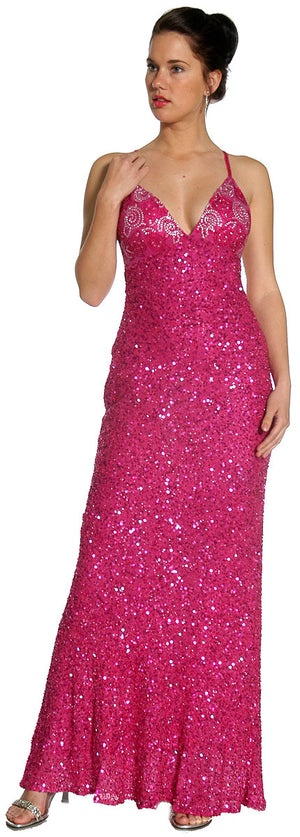 Image of Swirled Design Bodice Formal Prom Dress in Fuchsia