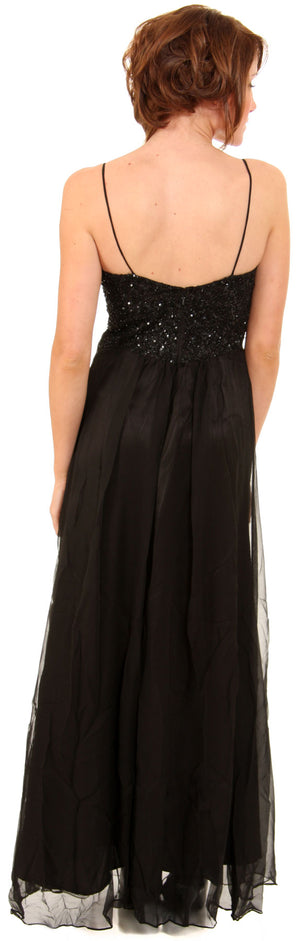 Back image of Two Tone Butterfly Top Formal Party Dress