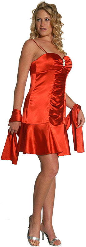 Image of Short Shirred Cocktail Dress in Red color