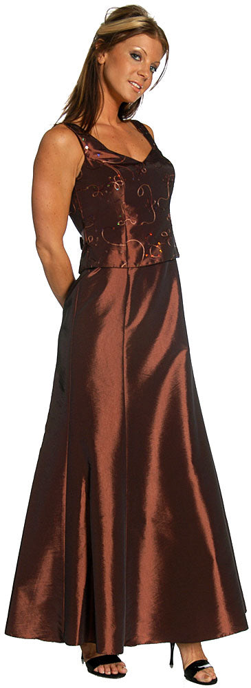 Main image of Embroidered Bodice V-neck Formal Evening Dress