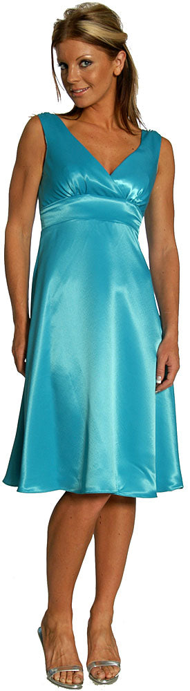 Main image of V-neck Short Poly Satin Party Dress.