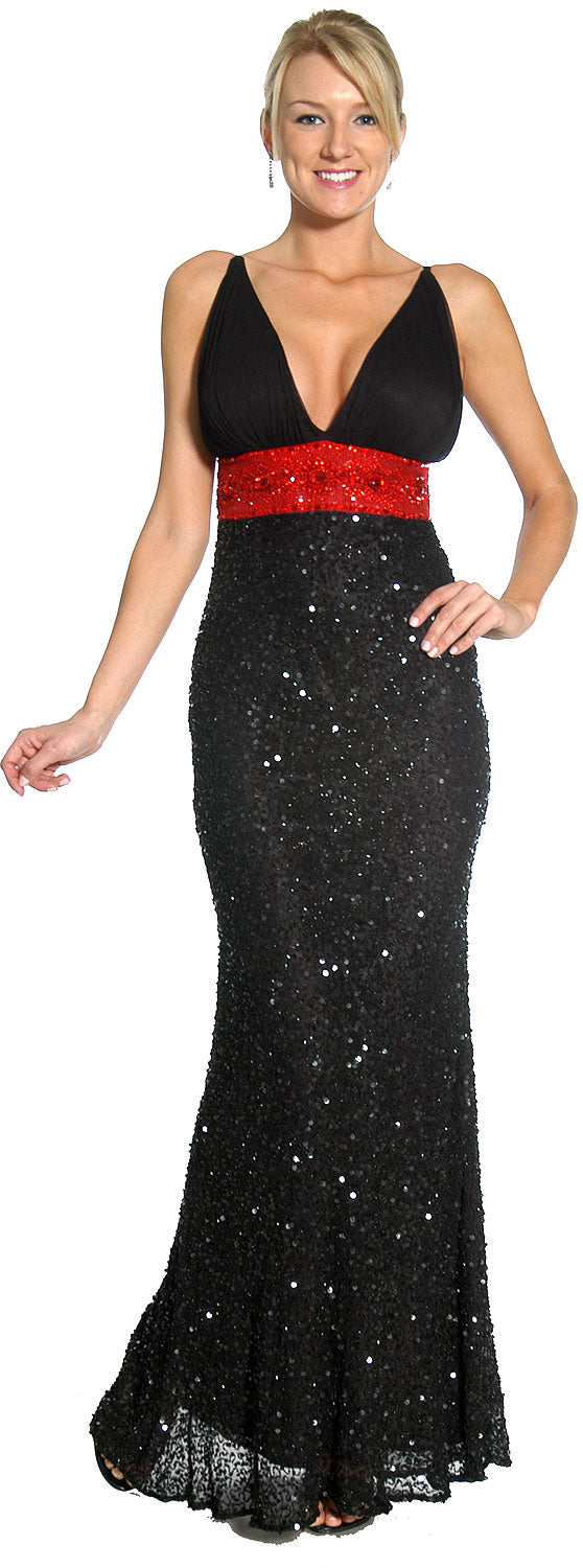 Main image of Roman Inspired Empire Cut Beaded Formal Prom Gown