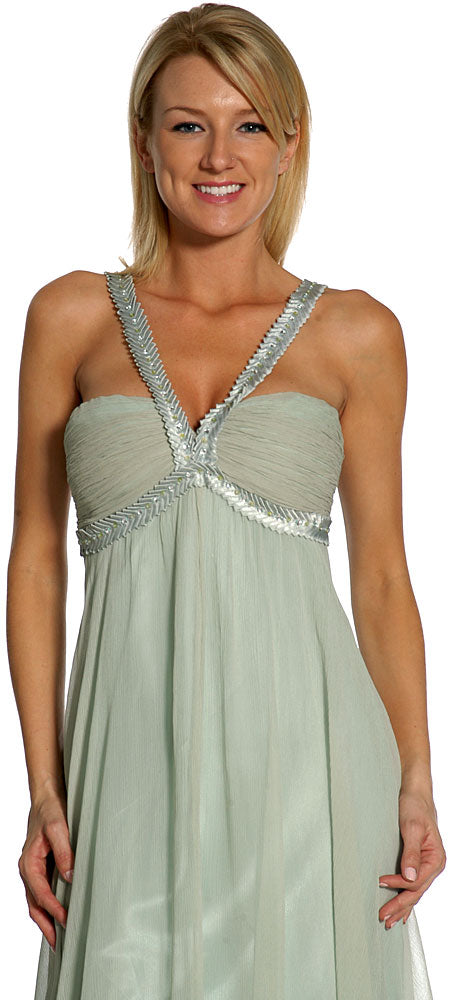 Image of Tea Length Decorative Straps Formal Cocktail Dress in closeup