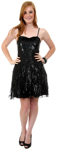 Main image of Sequined Glittery Silk Prom Little Black Dress