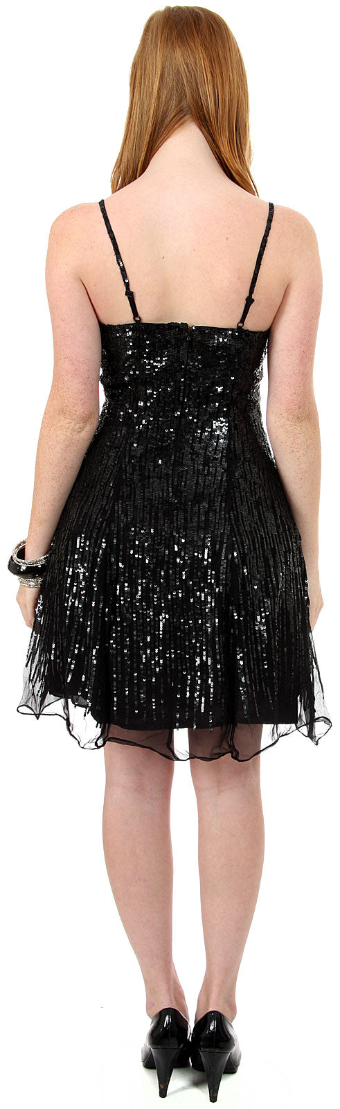 Back image of Sequined Glittery Silk Prom Little Black Dress