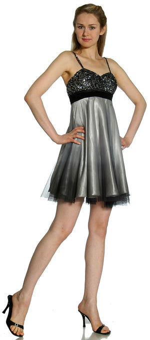 Image of Spaghetti Straps 2 Tone Beaded Bust Short Formal Party Dress in Black/Gray