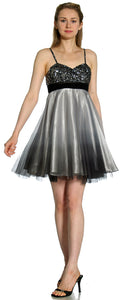 Image of Spaghetti Straps 2 Tone Beaded Bust Short Formal Party Dress in Black/Gray alternative view