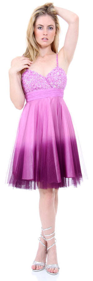 Image of Spaghetti Straps 2 Tone Beaded Bust Short Formal Party Dress in Lilac