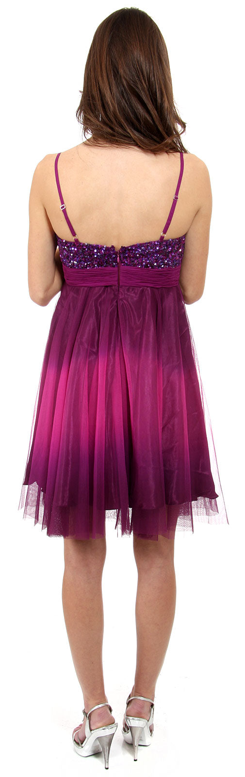 Image of Spaghetti Straps 2 Tone Beaded Bust Short Formal Party Dress back in Purple
