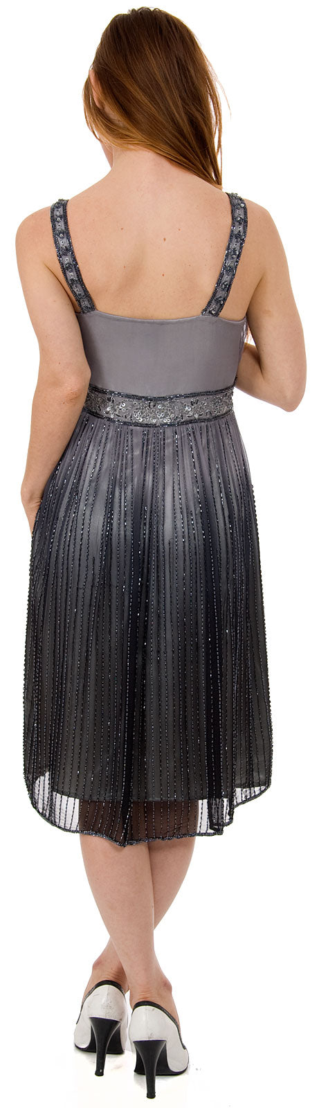 Back image of V-neck Two Tone Beaded Knee Length Formal Party Dress