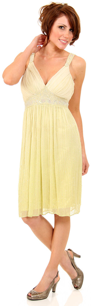Image of V-neck Two Tone Beaded Knee Length Formal Party Dress in Lime Green