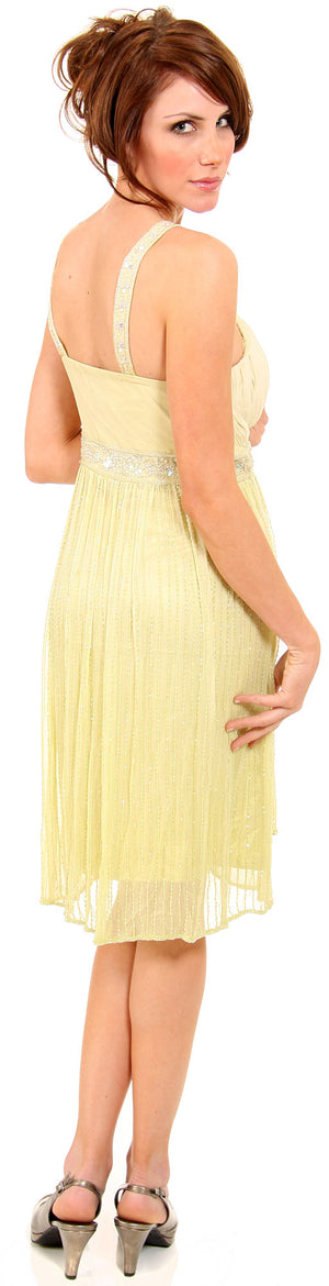 Image of V-neck Two Tone Beaded Knee Length Formal Party Dress back in Lime Green