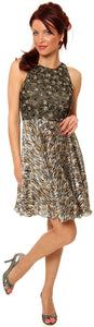 Main image of Sleeveless Beaded Bust Short Party Dress With Print Skirt