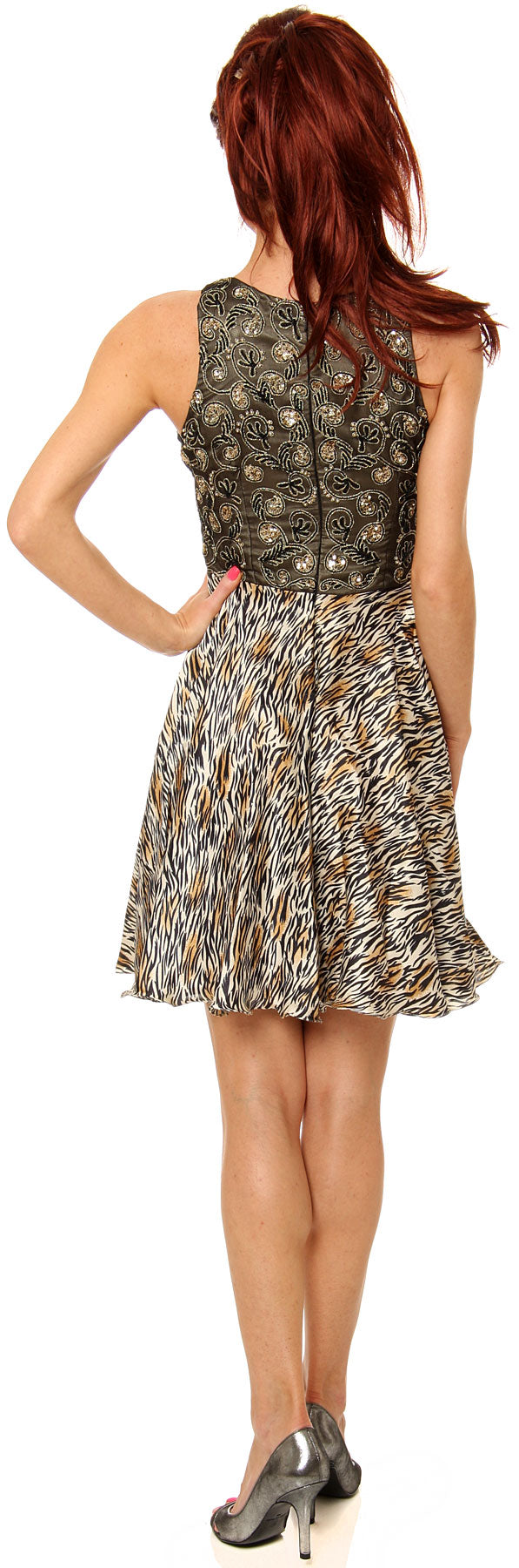 Back image of Sleeveless Beaded Bust Short Party Dress With Print Skirt