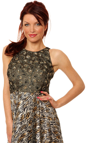 Image of Sleeveless Beaded Bust Short Party Dress With Print Skirt in closeup