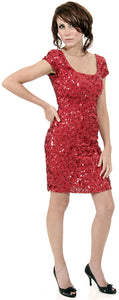 Image of Fully Sequin Beaded Short Prom Dress in Red/Black