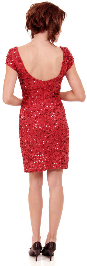 Image of Fully Sequin Beaded Short Prom Dress back in Red/Black