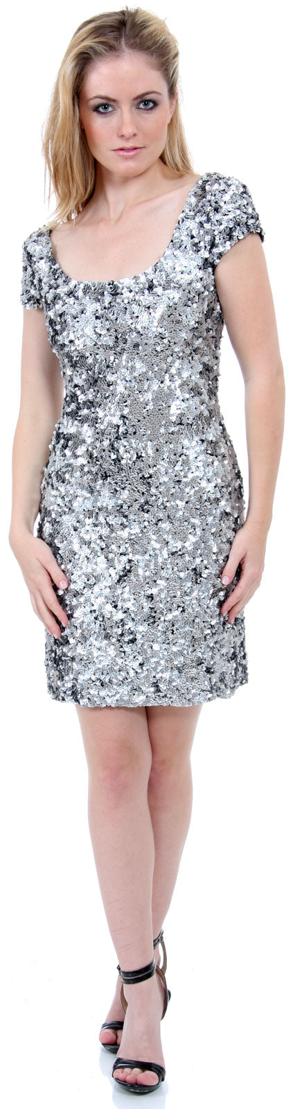 Main image of Fully Sequin Beaded Short Prom Dress