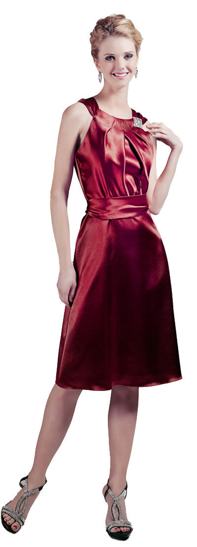 Main image of Short High Neckline Satin Party Dress