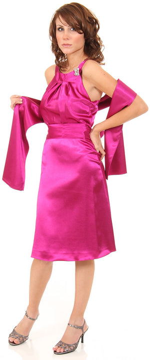Short High Neckline Satin Party Dress
