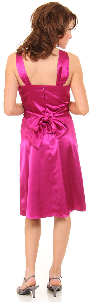 Back image of Short High Neckline Satin Party Dress
