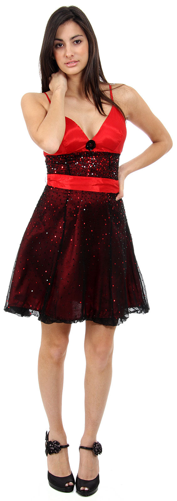 Main image of Short Sequined Party Dress With Removable Sash