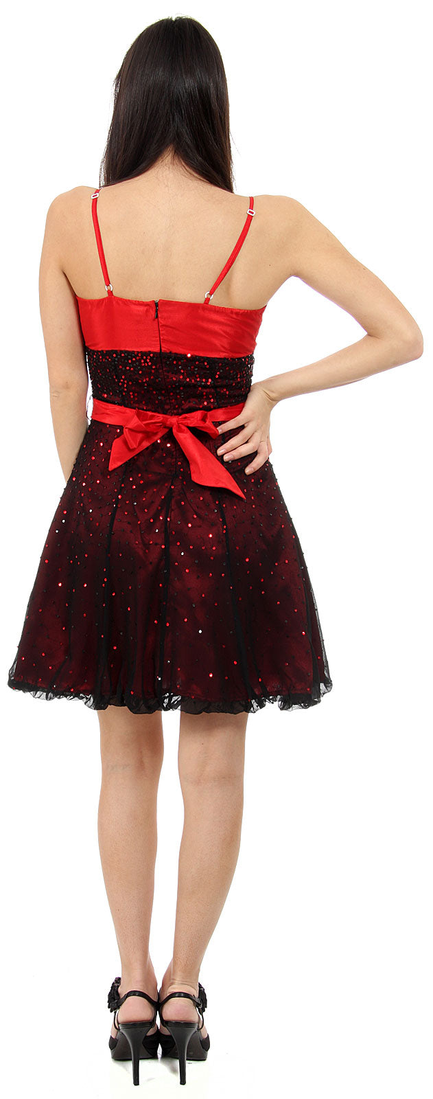 Back image of Short Sequined Party Dress With Removable Sash