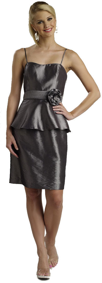 Image of Spaghetti Strapped Pencil Shirt Dress  in Dark Silver