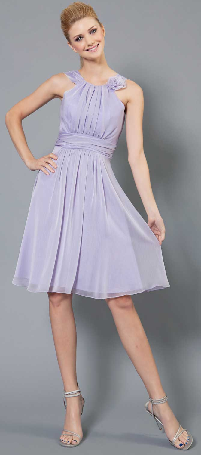 Image of Empire Cut Shirred Knee Length Bridesmaid Party Dress in Lilac