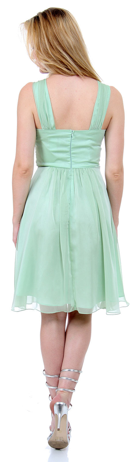 Back image of Empire Cut Shirred Knee Length Bridesmaid Party Dress
