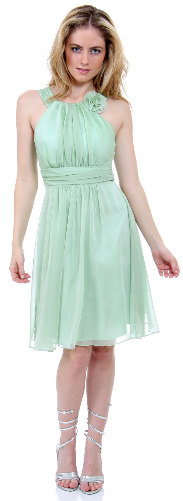 Main image of Empire Cut Shirred Knee Length Bridesmaid Party Dress