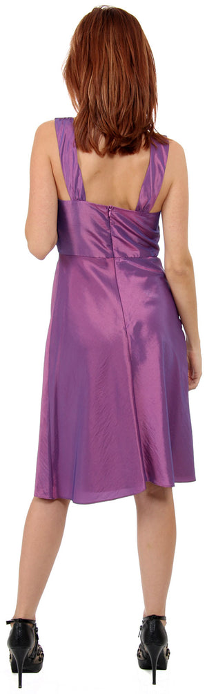 Image of Embellished Neckline Formal Knee Length Dress With Jacket back in Lilac without Jacket
