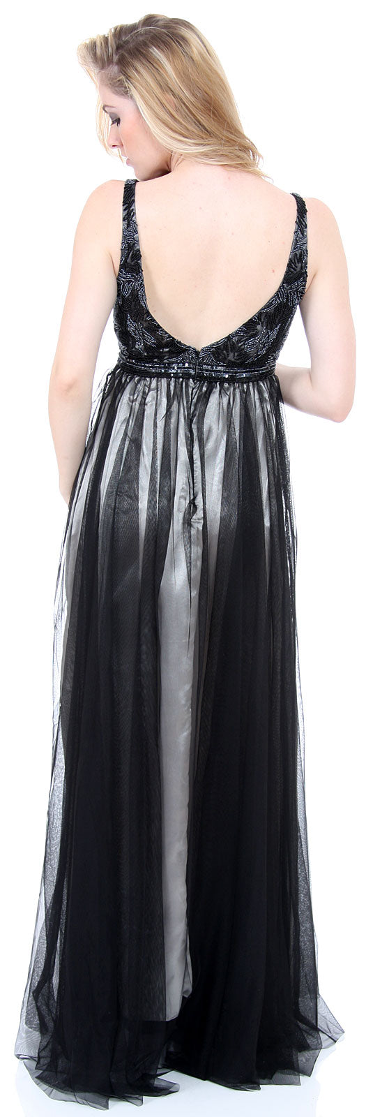 Image of Plus Size Full Length Formal Mob Evening Gown With Jacket back in Black/Silver