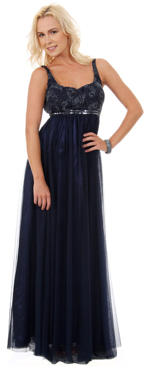 Image of Plus Size Full Length Formal Mob Evening Gown With Jacket in Navy