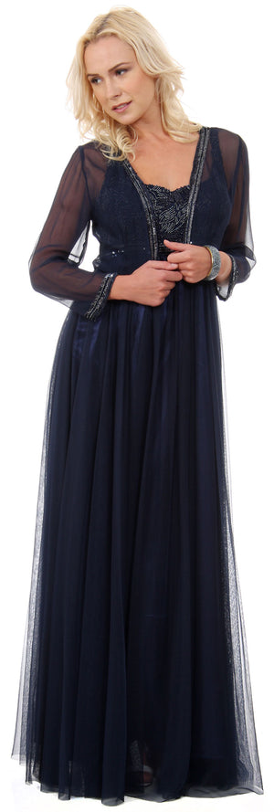 Main image of Plus Size Full Length Formal Mob Evening Gown With Jacket